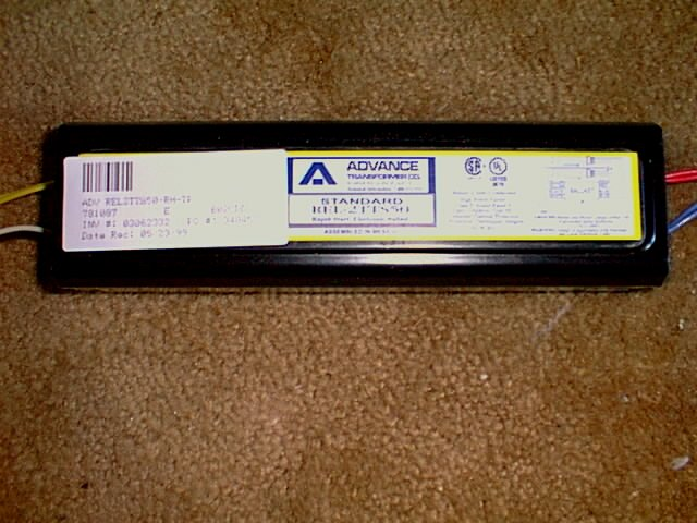 Picture of the Advance ballast used to power 2 55 watt power compact lights.